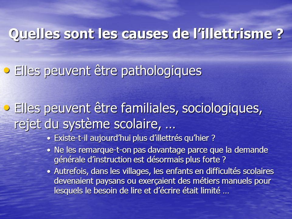 Quelles sont les causes de lillettrisme ? Elles peuvent être pathologiques Elles peuvent être pathologiques Elles peuvent être familiales, sociologiqu