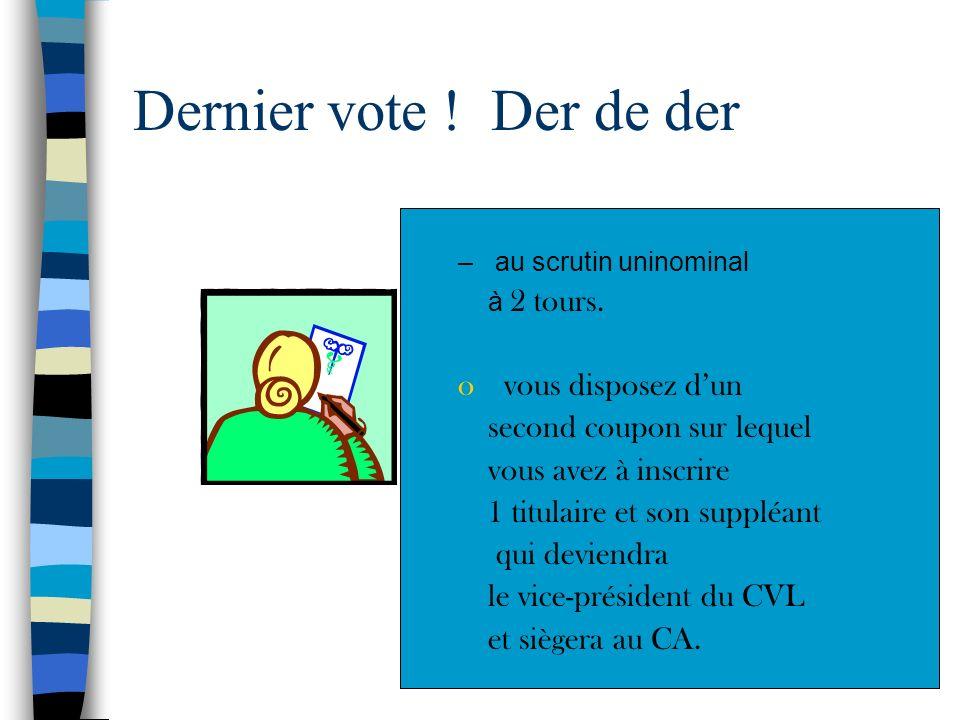 Elire les représentants au CA Vous devez élire maintenant 5 titulaires et 5 suppléants pour siéger au CA –au scrutin plurinominal à 1 tour. vous dispo