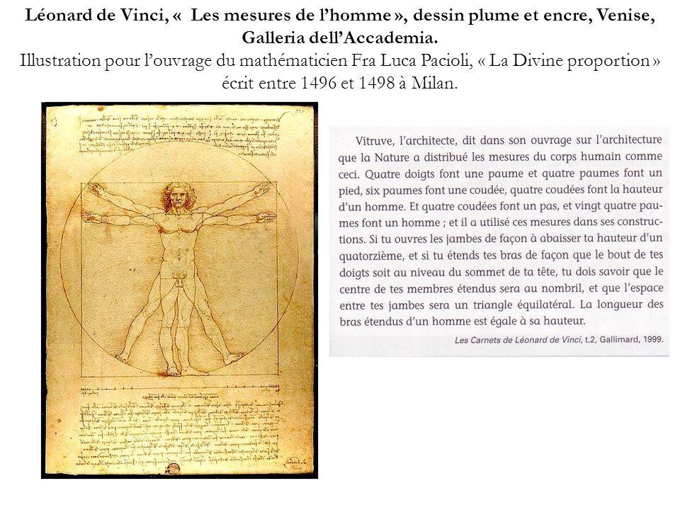 Léonard de Vinci, « Les mesures de lhomme », dessin plume et encre, Venise, Galleria dellAccademia. Illustration pour louvrage du mathématicien Fra Lu