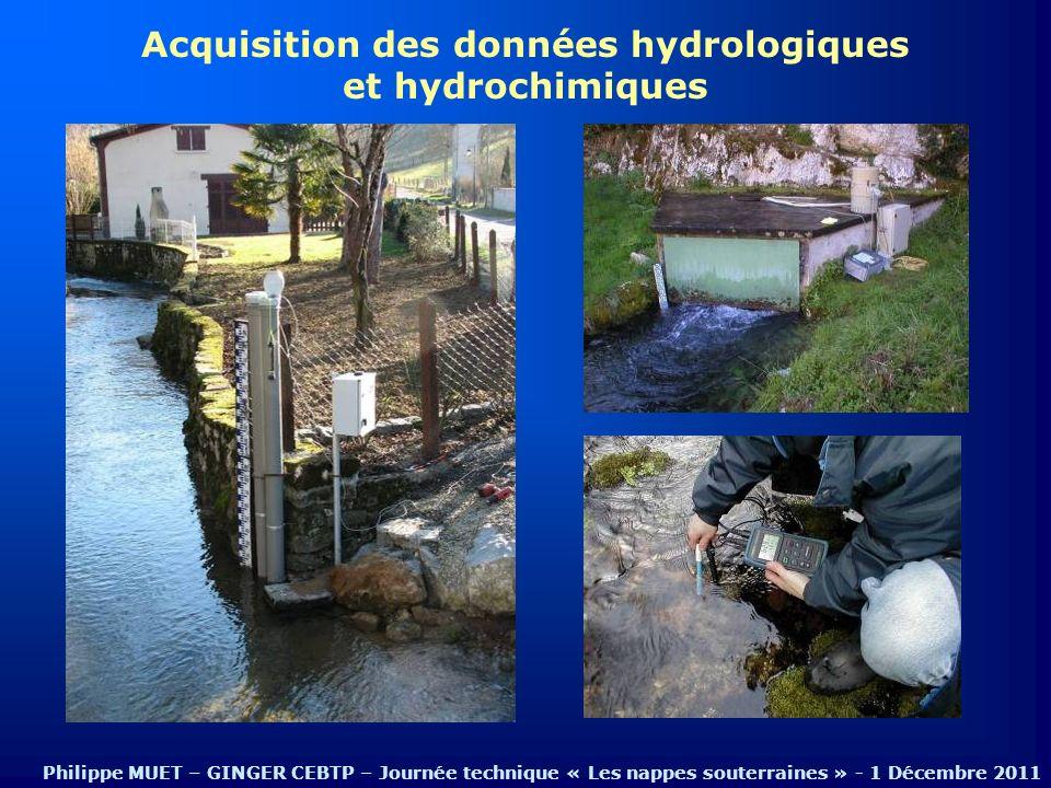 Acquisition des données hydrologiques et hydrochimiques Philippe MUET – GINGER CEBTP – Journée technique « Les nappes souterraines » - 1 Décembre 2011