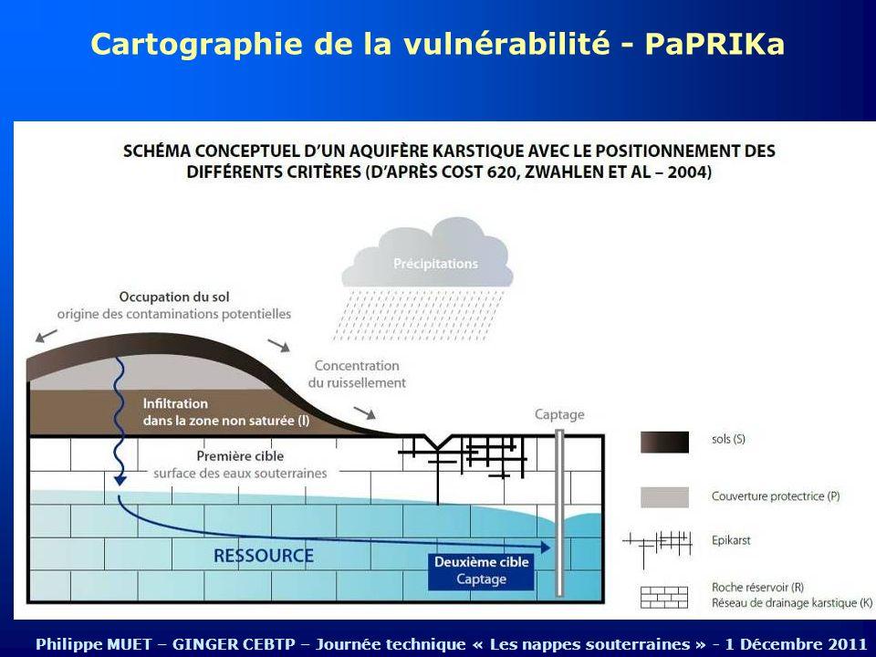Cartographie de la vulnérabilité - PaPRIKa Philippe MUET – GINGER CEBTP – Journée technique « Les nappes souterraines » - 1 Décembre 2011