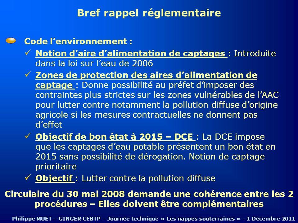 Code lenvironnement : Notion daire dalimentation de captages : Introduite dans la loi sur leau de 2006 Zones de protection des aires dalimentation de