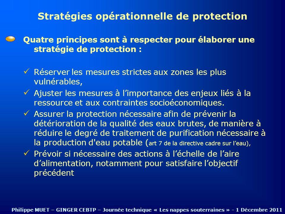 Quatre principes sont à respecter pour élaborer une stratégie de protection : Réserver les mesures strictes aux zones les plus vulnérables, Ajuster le