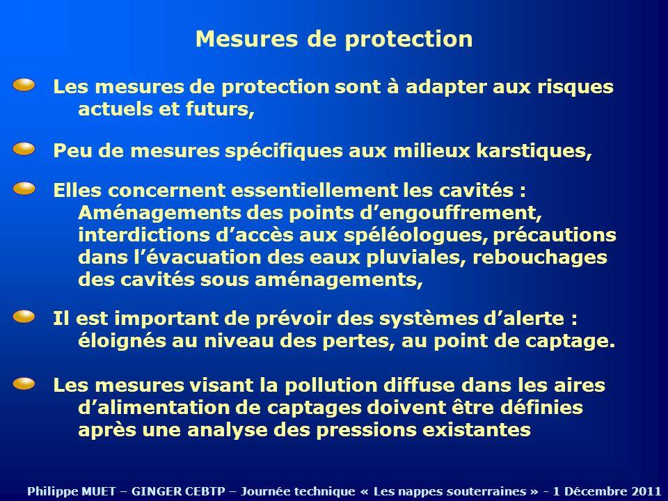 Mesures de protection Elles concernent essentiellement les cavités : Aménagements des points dengouffrement, interdictions daccès aux spéléologues, pr
