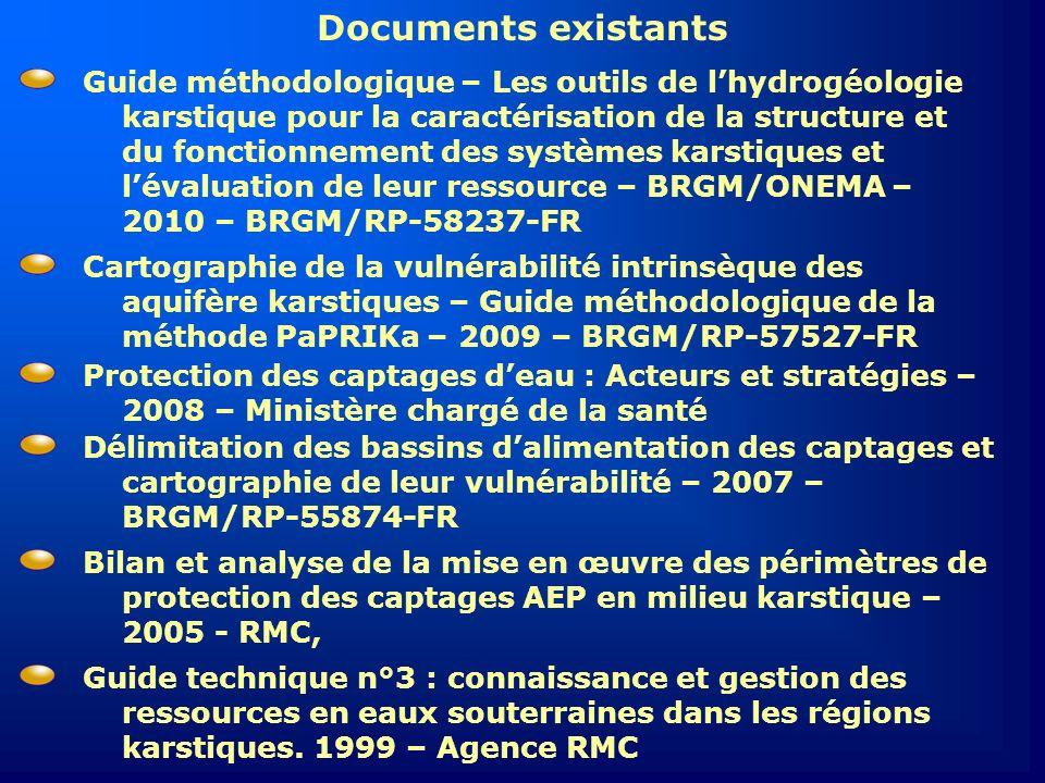 Documents existants Délimitation des bassins dalimentation des captages et cartographie de leur vulnérabilité – 2007 – BRGM/RP-55874-FR Bilan et analy