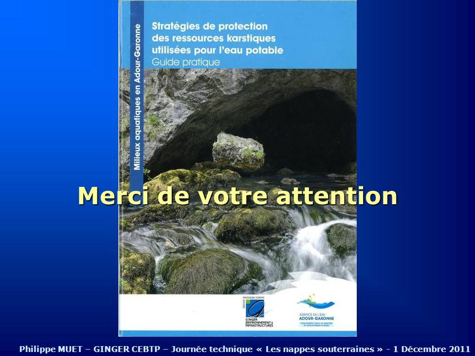 Merci de votre attention Philippe MUET – GINGER CEBTP – Journée technique « Les nappes souterraines » - 1 Décembre 2011
