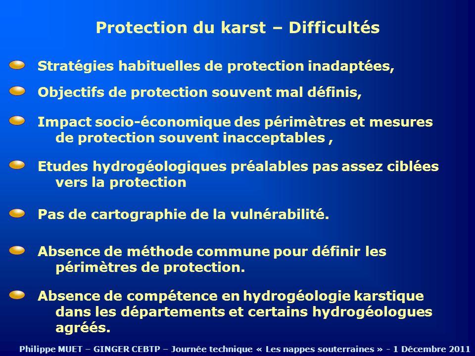 Protection du karst – Difficultés Objectifs de protection souvent mal définis, Stratégies habituelles de protection inadaptées, Impact socio-économiqu