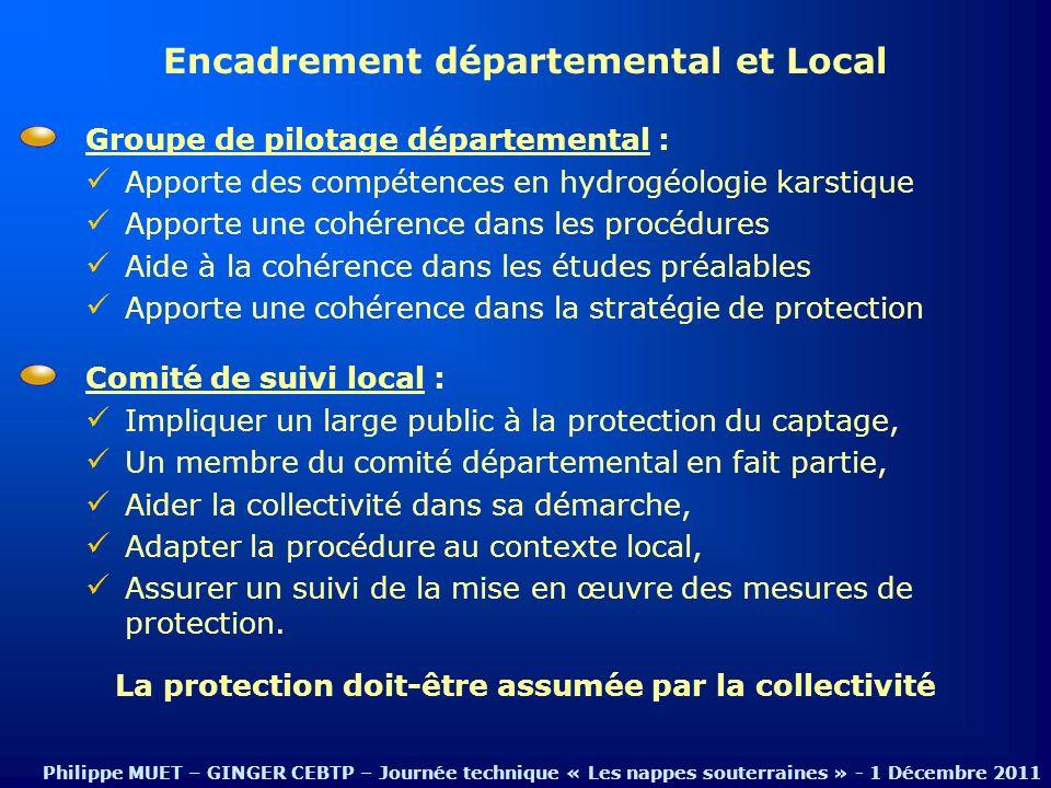 Encadrement départemental et Local Philippe MUET – GINGER CEBTP – Journée technique « Les nappes souterraines » - 1 Décembre 2011 Groupe de pilotage d