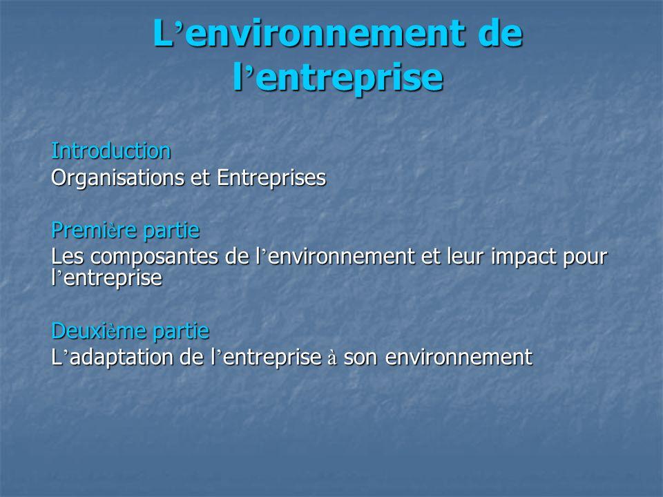 L environnement de l entreprise Introduction Organisations et Entreprises Premi è re partie Les composantes de l environnement et leur impact pour l e