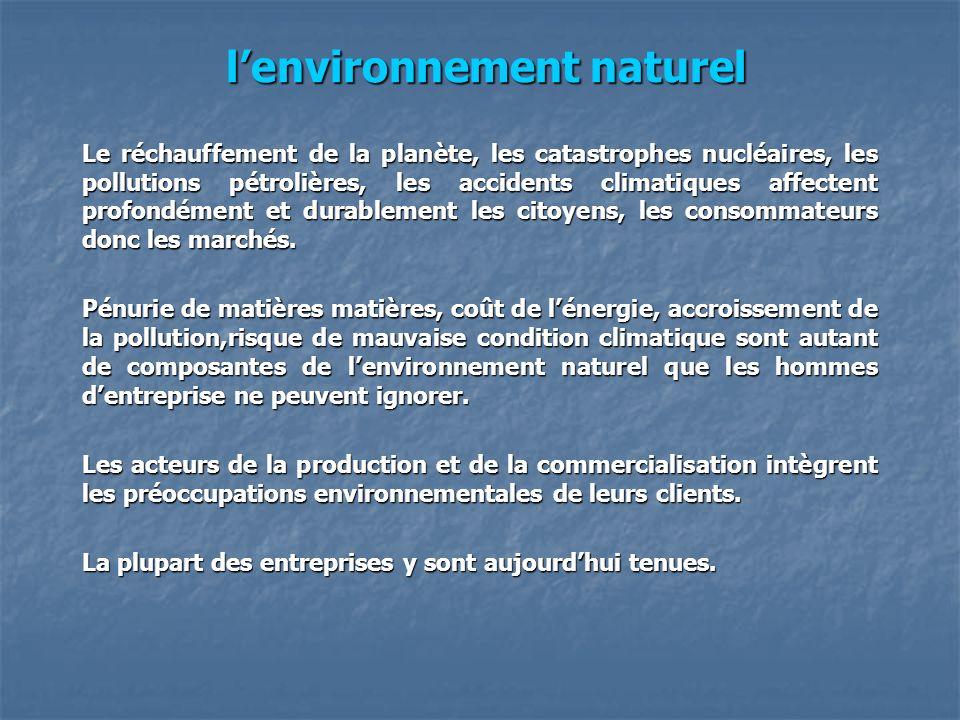 lenvironnement naturel lenvironnement naturel Le réchauffement de la planète, les catastrophes nucléaires, les pollutions pétrolières, les accidents c
