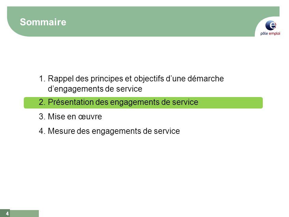 4 4 Sommaire 1.Rappel des principes et objectifs dune démarche dengagements de service 2.Présentation des engagements de service 3.Mise en œuvre 4.Mes