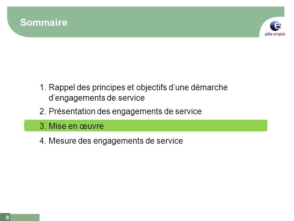 6 6 Sommaire 1.Rappel des principes et objectifs dune démarche dengagements de service 2.Présentation des engagements de service 3.Mise en œuvre 4.Mes