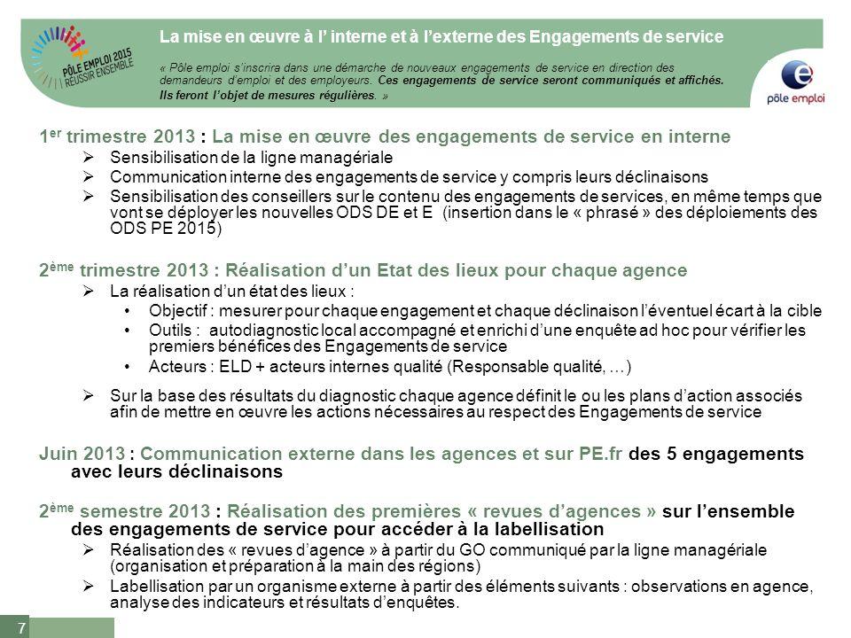 7 1 er trimestre 2013 : La mise en œuvre des engagements de service en interne Sensibilisation de la ligne managériale Communication interne des engag