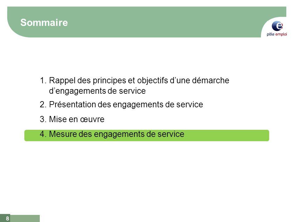 8 8 Sommaire 1.Rappel des principes et objectifs dune démarche dengagements de service 2.Présentation des engagements de service 3.Mise en œuvre 4.Mes