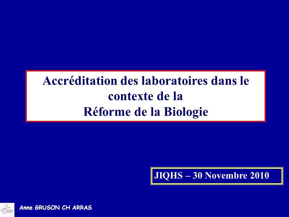 Anne GRUSON CH ARRAS Accréditation des laboratoires dans le contexte de la Réforme de la Biologie JIQHS – 30 Novembre 2010