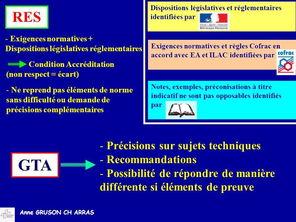 Anne GRUSON CH ARRAS GTA - Précisions sur sujets techniques - Recommandations - Possibilité de répondre de manière différente si éléments de preuve RE