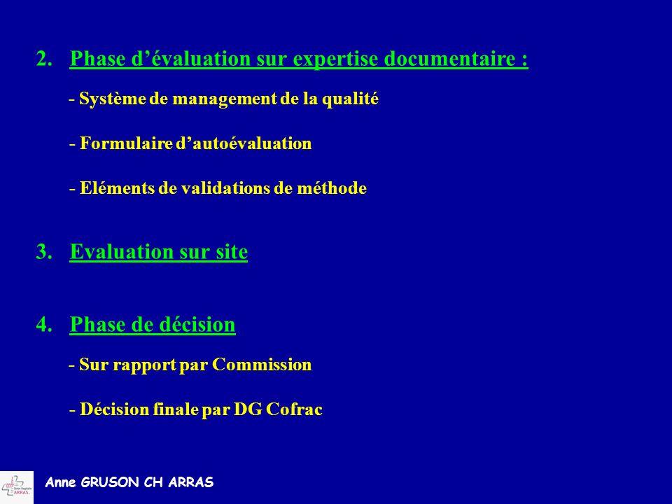 Anne GRUSON CH ARRAS 2.Phase dévaluation sur expertise documentaire : - Système de management de la qualité - Formulaire dautoévaluation - Eléments de