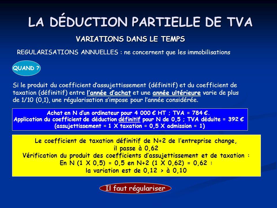 LA DÉDUCTION PARTIELLE DE TVA VARIATIONS DANS LE TEMPS COMMENT .