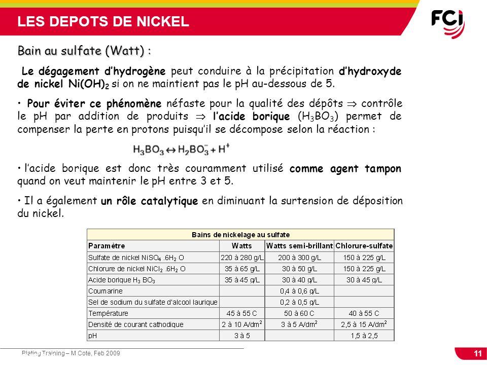 11 Plating Training – M Cote, Feb 2009 Cours : Les traitements de surface Bain au sulfate (Watt) : Le dégagement dhydrogène peut conduire à la précipi