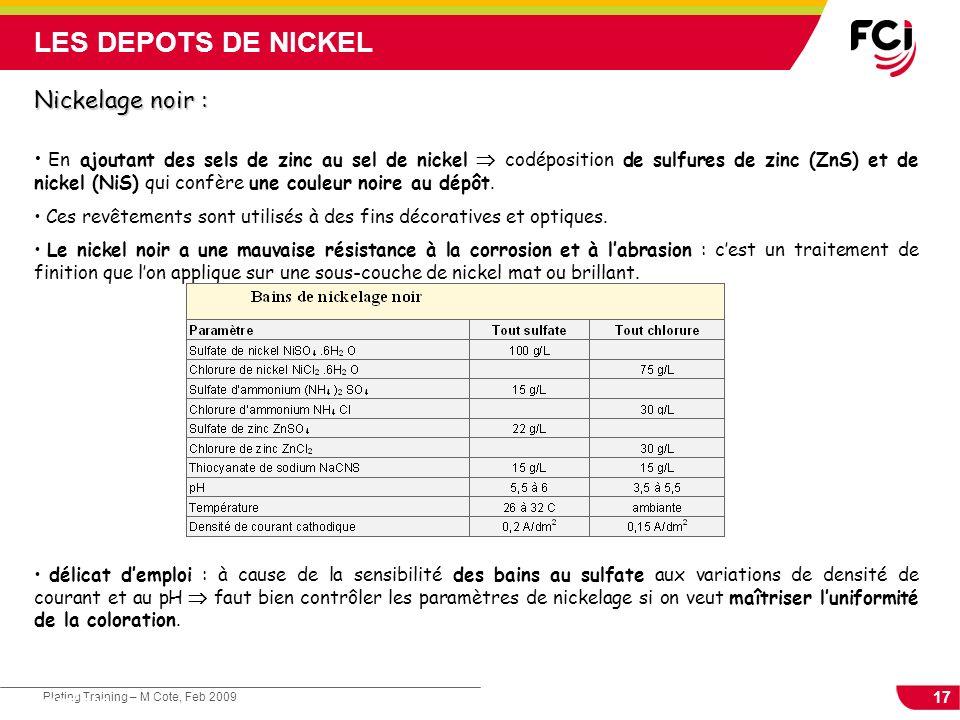 17 Plating Training – M Cote, Feb 2009 Cours : Les traitements de surface Nickelage noir : En ajoutant des sels de zinc au sel de nickel codéposition