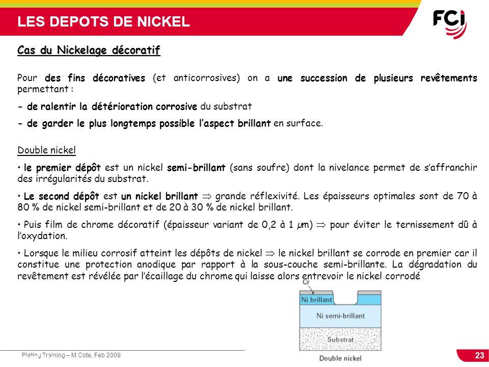 23 Plating Training – M Cote, Feb 2009 Cours : Les traitements de surface Cas du Nickelage décoratif Pour des fins décoratives (et anticorrosives) on