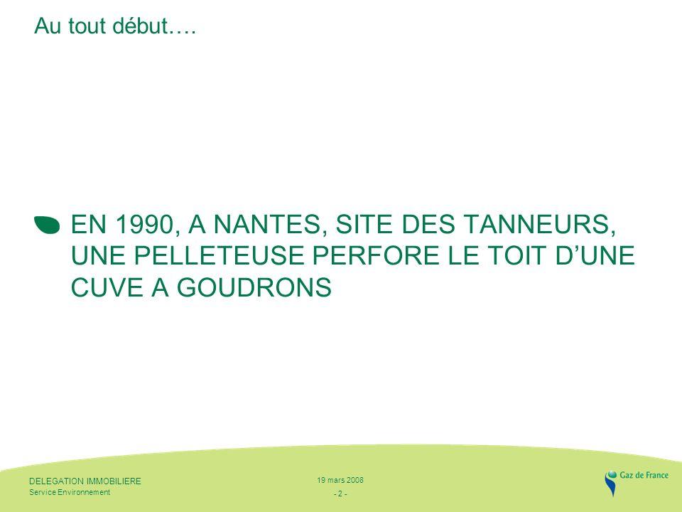 - 2 - Service Environnement DELEGATION IMMOBILIERE 19 mars 2008 Au tout début….