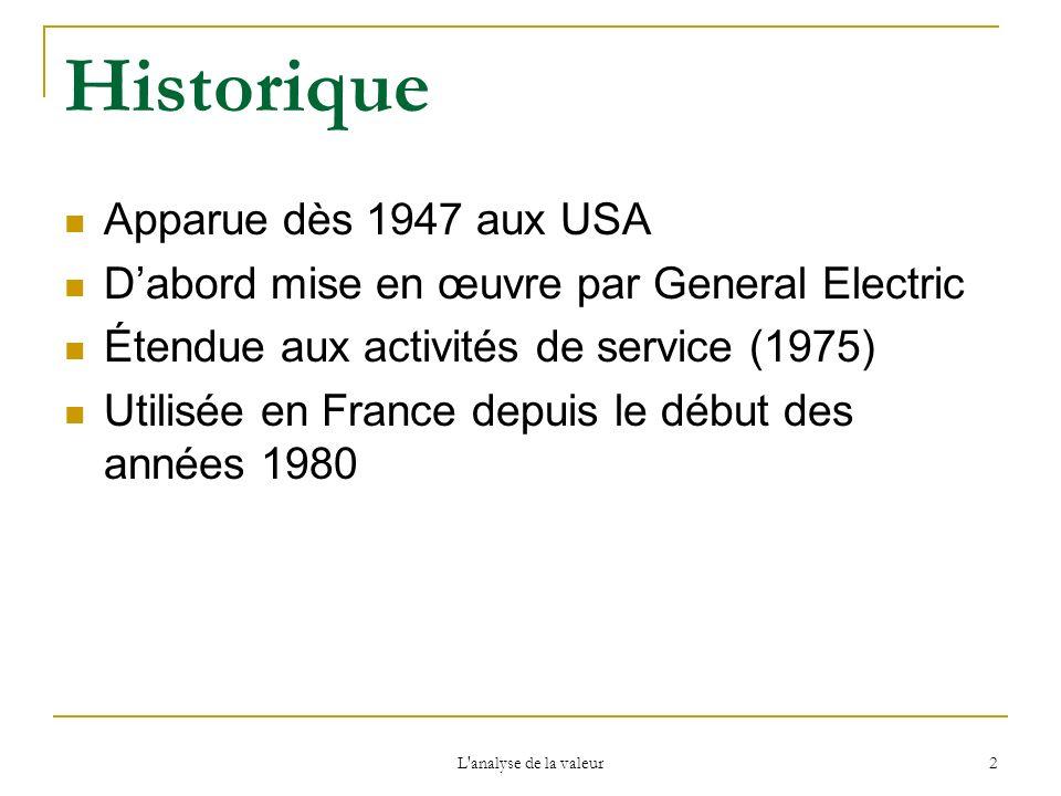 L'analyse de la valeur 2 Historique Apparue dès 1947 aux USA Dabord mise en œuvre par General Electric Étendue aux activités de service (1975) Utilisé