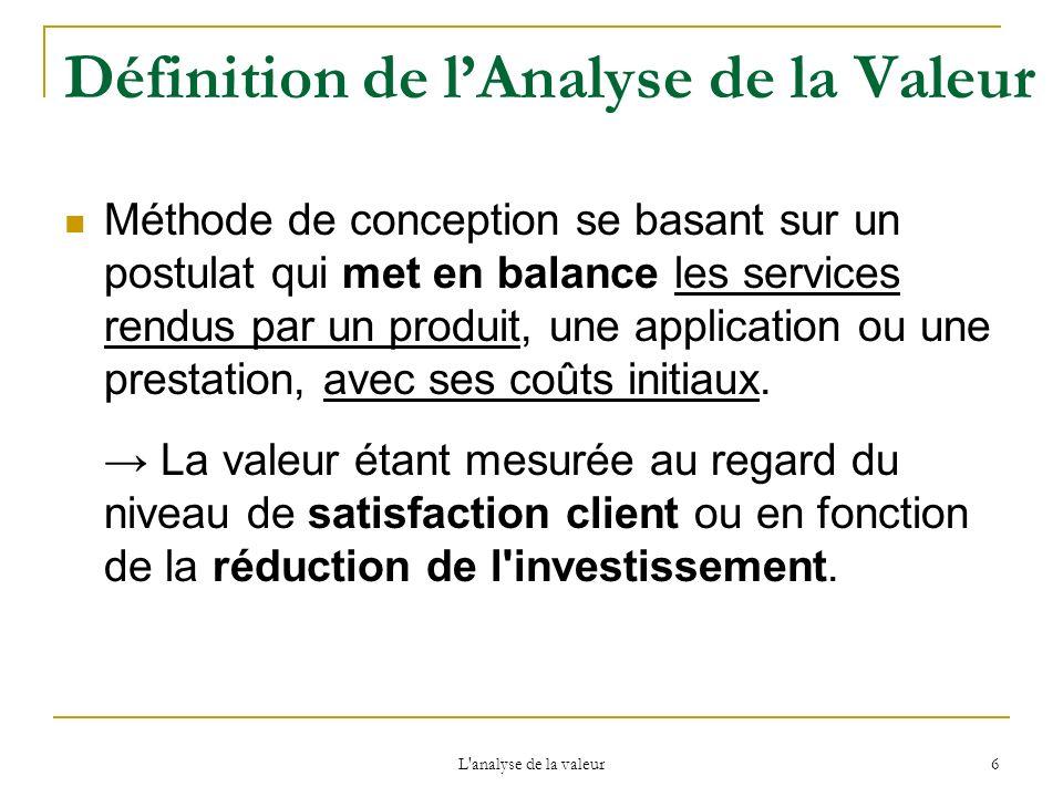 L'analyse de la valeur 6 Définition de lAnalyse de la Valeur Méthode de conception se basant sur un postulat qui met en balance les services rendus pa