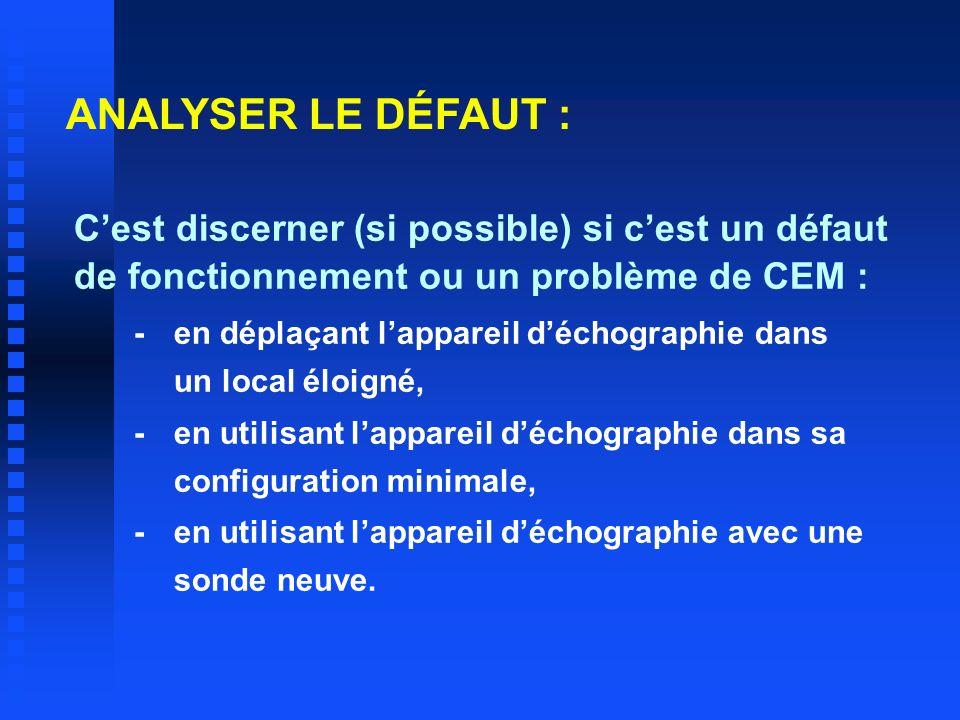 ANALYSER LE DÉFAUT : Cest discerner (si possible) si cest un défaut de fonctionnement ou un problème de CEM : -en déplaçant lappareil déchographie dan