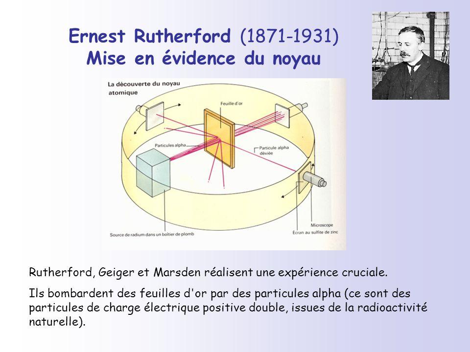 Ernest Rutherford (1871-1931) Mise en évidence du noyau Rutherford, Geiger et Marsden réalisent une expérience cruciale. Ils bombardent des feuilles d