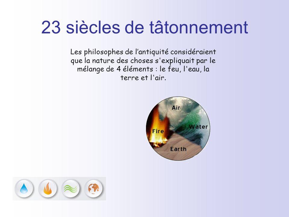 23 siècles de tâtonnement Les philosophes de lantiquité considéraient que la nature des choses s'expliquait par le mélange de 4 éléments : le feu, l'e