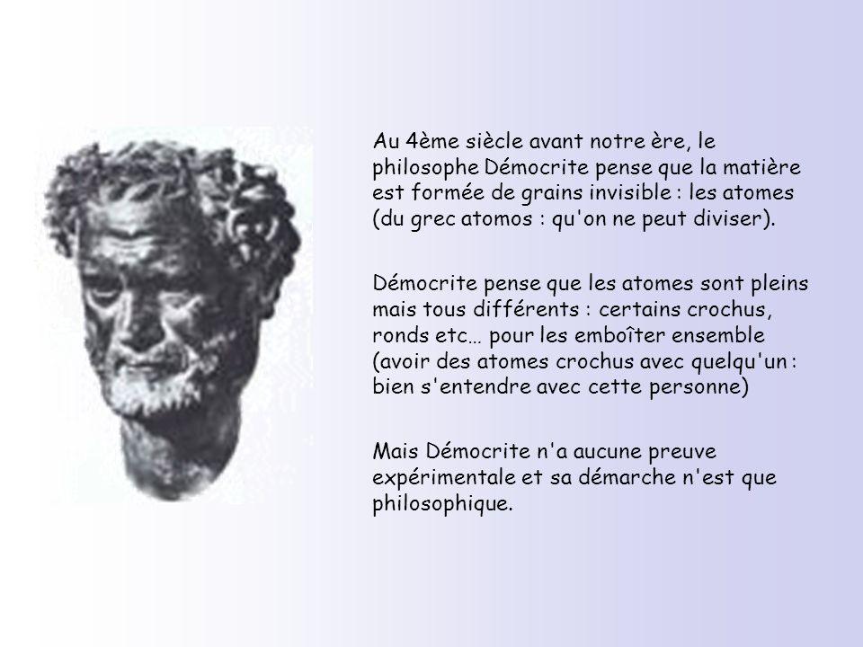 Au 4ème siècle avant notre ère, le philosophe Démocrite pense que la matière est formée de grains invisible : les atomes (du grec atomos : qu'on ne pe
