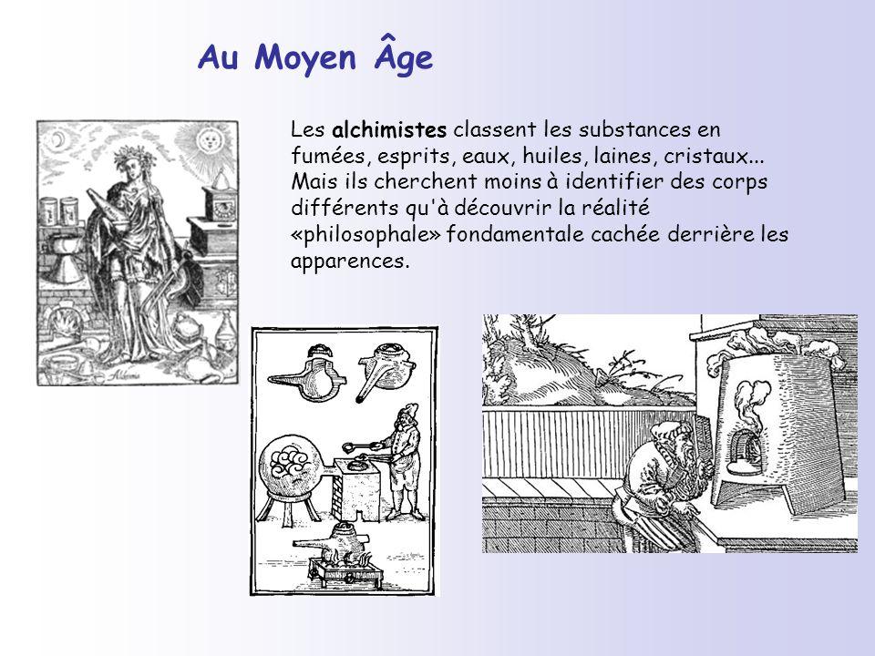 Au Moyen Âge Les alchimistes classent les substances en fumées, esprits, eaux, huiles, laines, cristaux... Mais ils cherchent moins à identifier des c