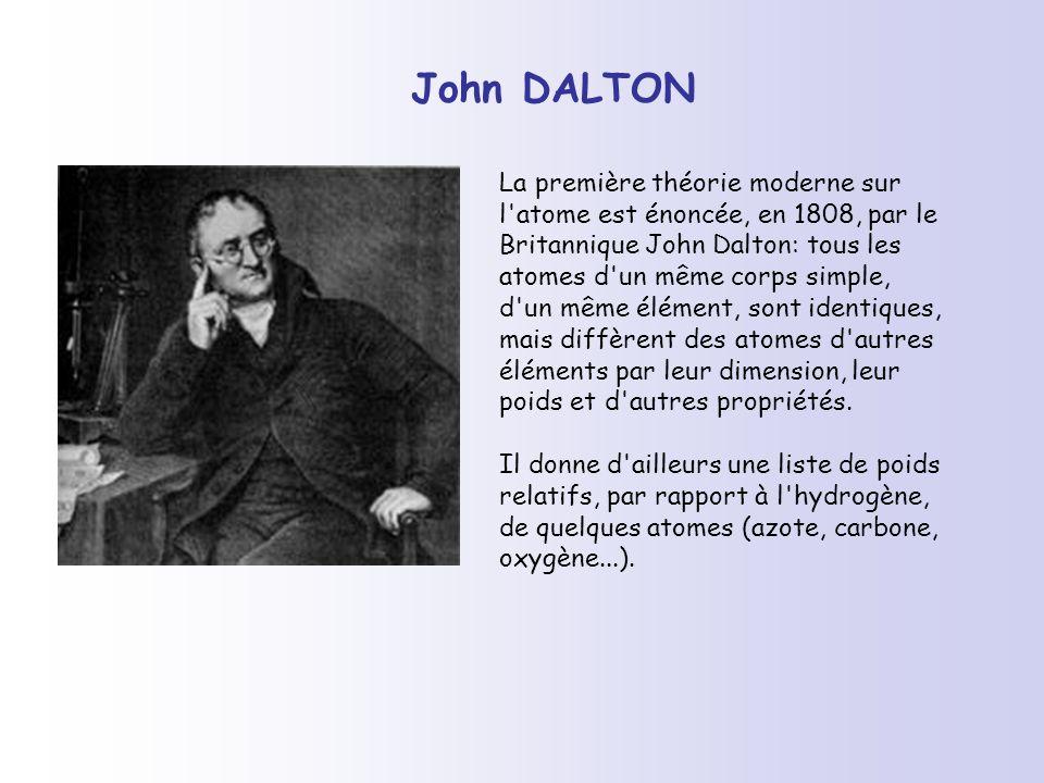 John DALTON La première théorie moderne sur l'atome est énoncée, en 1808, par le Britannique John Dalton: tous les atomes d'un même corps simple, d'un