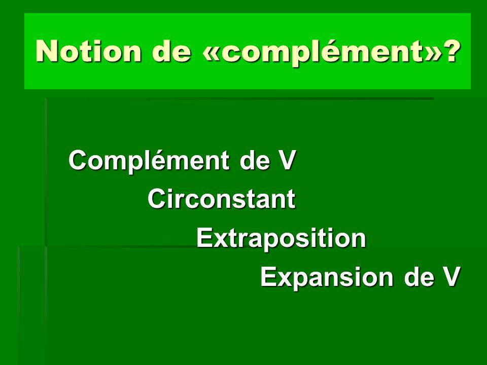 Complément du verbe et complément de phrase (1) Les compléments du verbe (CV) sont fortement liés au verbe et participent à la définition de la proposition minimale, c est-à-dire réduite aux éléments indispensables à la cohérence syntaxique.