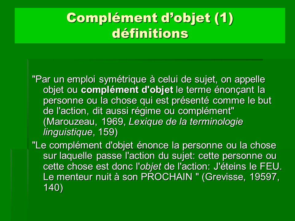 Complément dobjet (1) définitions