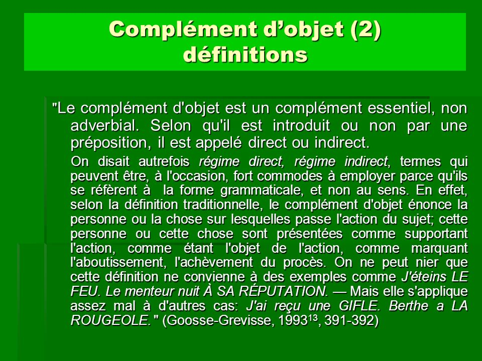 Complément dobjet (2) définitions