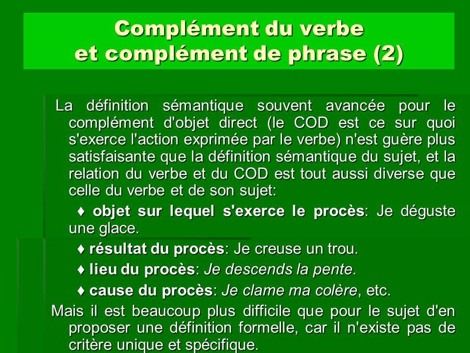 Complément du verbe et complément de phrase (2) La définition sémantique souvent avancée pour le complément d'objet direct (le COD est ce sur quoi s'e