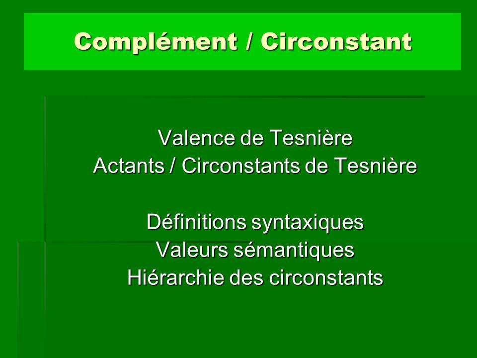 Complément / Circonstant Valence de Tesnière Actants / Circonstants de Tesnière Définitions syntaxiques Valeurs sémantiques Hiérarchie des circonstant