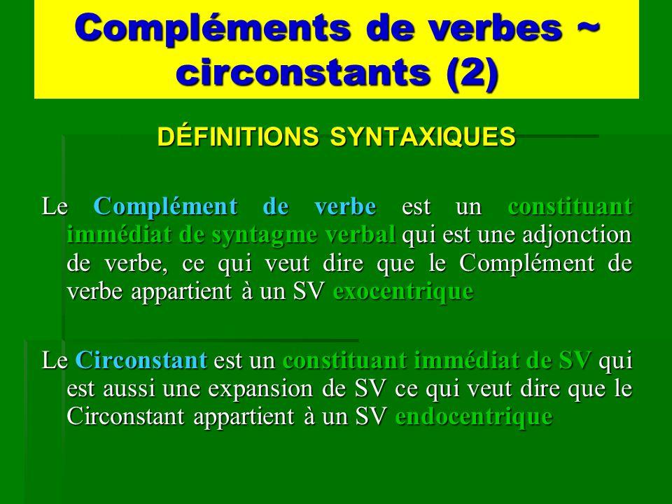 Compléments de verbes ~ circonstants (2) DÉFINITIONS SYNTAXIQUES Le Complément de verbe est un constituant immédiat de syntagme verbal qui est une adj