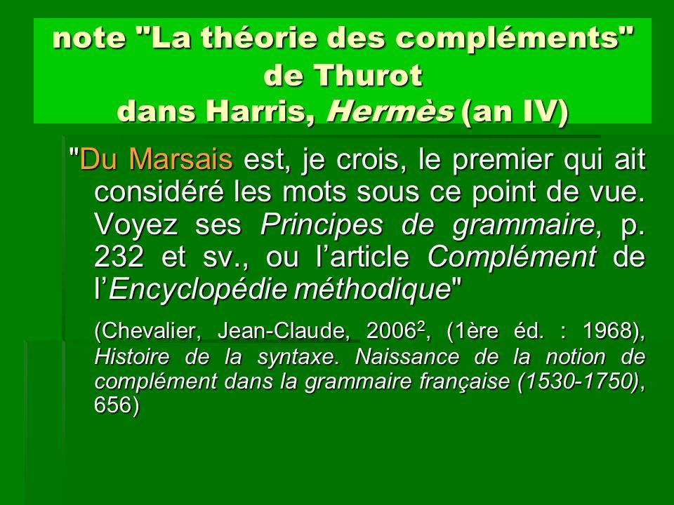 Compléments de verbes Valeur sémantique.