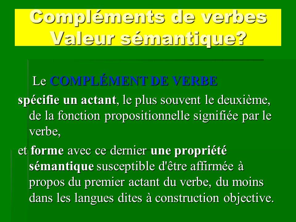 Compléments de verbes Valeur sémantique? Le COMPLÉMENT DE VERBE Le COMPLÉMENT DE VERBE spécifie un actant, le plus souvent le deuxième, de la fonction