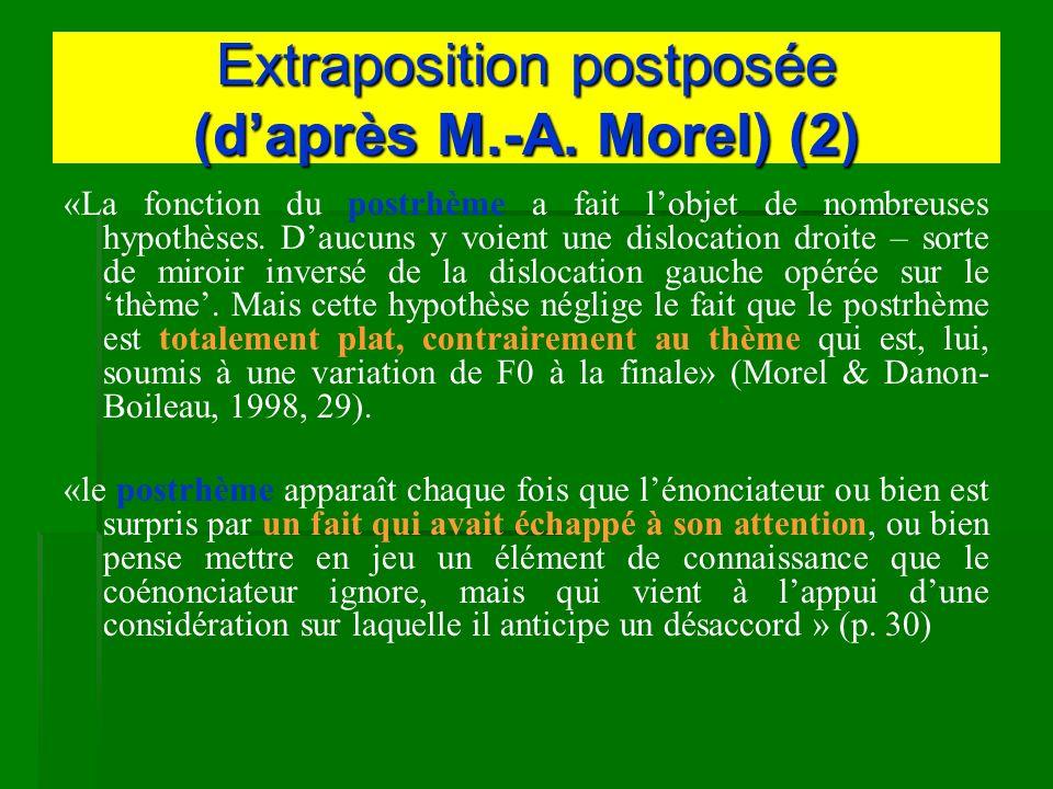 Extraposition postposée (daprès M.-A. Morel) (2) «La fonction du postrhème a fait lobjet de nombreuses hypothèses. Daucuns y voient une dislocation dr
