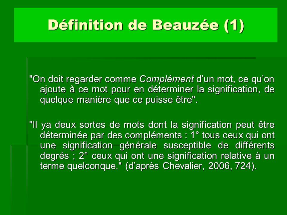 Définition de Beauzée (2) «Tous tous ceux qui ont une signification générale susceptible de différents degrés» ; tels sont les noms dont la signification générale peut être restreinte, et un grand nombre dadjectifs, dadverbes et de verbes.