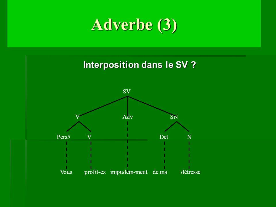 Adverbe (3) Interposition dans le SV ? Adv SN Pers5 V V N Det Vous profit-ez impudem-ment de ma détresse SV
