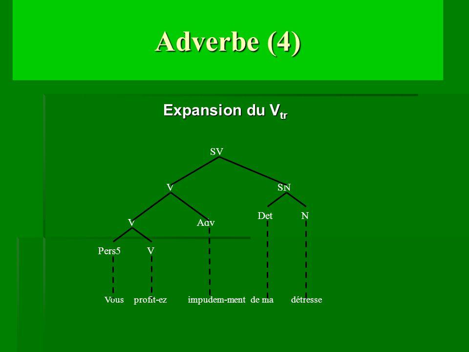 Adverbe (4) Expansion du V tr Expansion du V tr V Adv Pers5 V V SN N Det Vous profit-ez impudem-ment de ma détresse SV