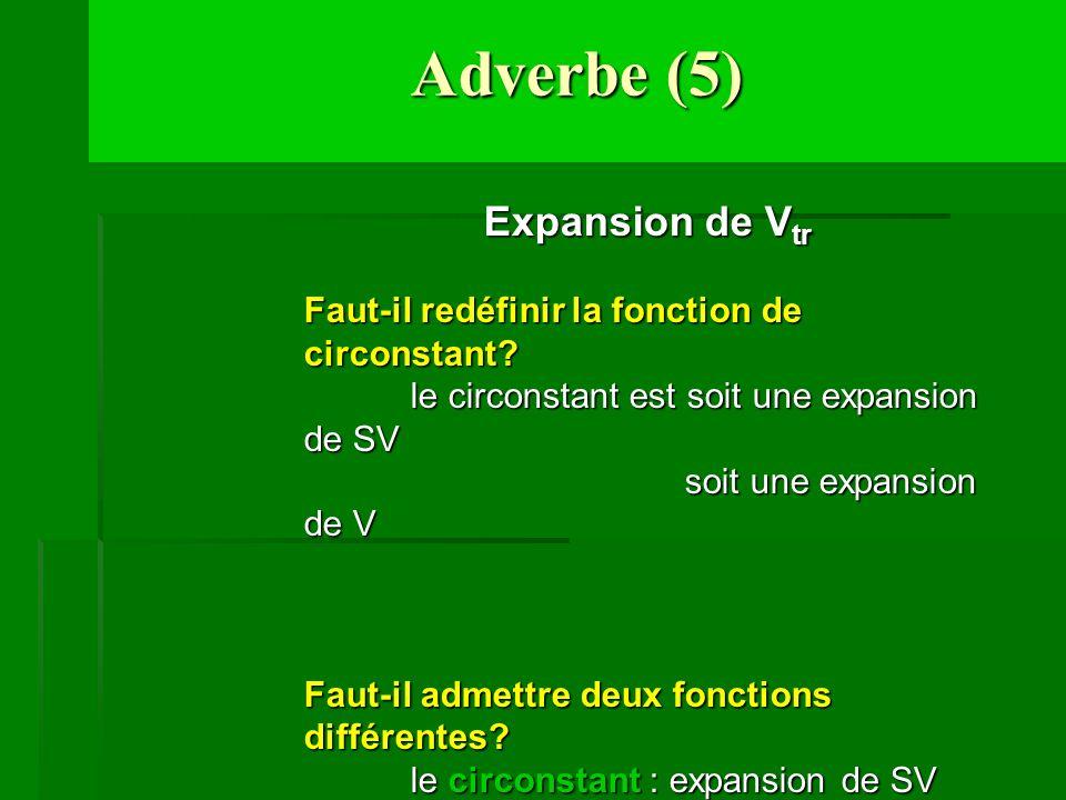 Adverbe (5) Expansion de V tr Faut-il redéfinir la fonction de circonstant? le circonstant est soit une expansion de SV soit une expansion de V soit u