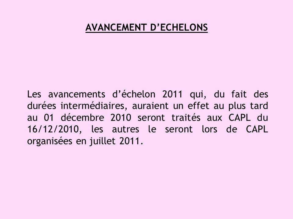 AVANCEMENT DECHELONS Les avancements déchelon 2011 qui, du fait des durées intermédiaires, auraient un effet au plus tard au 01 décembre 2010 seront traités aux CAPL du 16/12/2010, les autres le seront lors de CAPL organisées en juillet 2011.