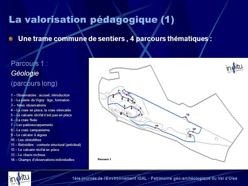 1ère journée de lEnvironnement IGAL - Patrimoine géo-archéologique du Val dOise Une trame commune de sentiers, 4 parcours thématiques : La valorisatio