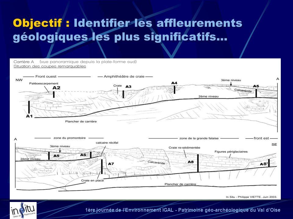 1ère journée de lEnvironnement IGAL - Patrimoine géo-archéologique du Val dOise Objectif : Identifier les affleurements géologiques les plus significa
